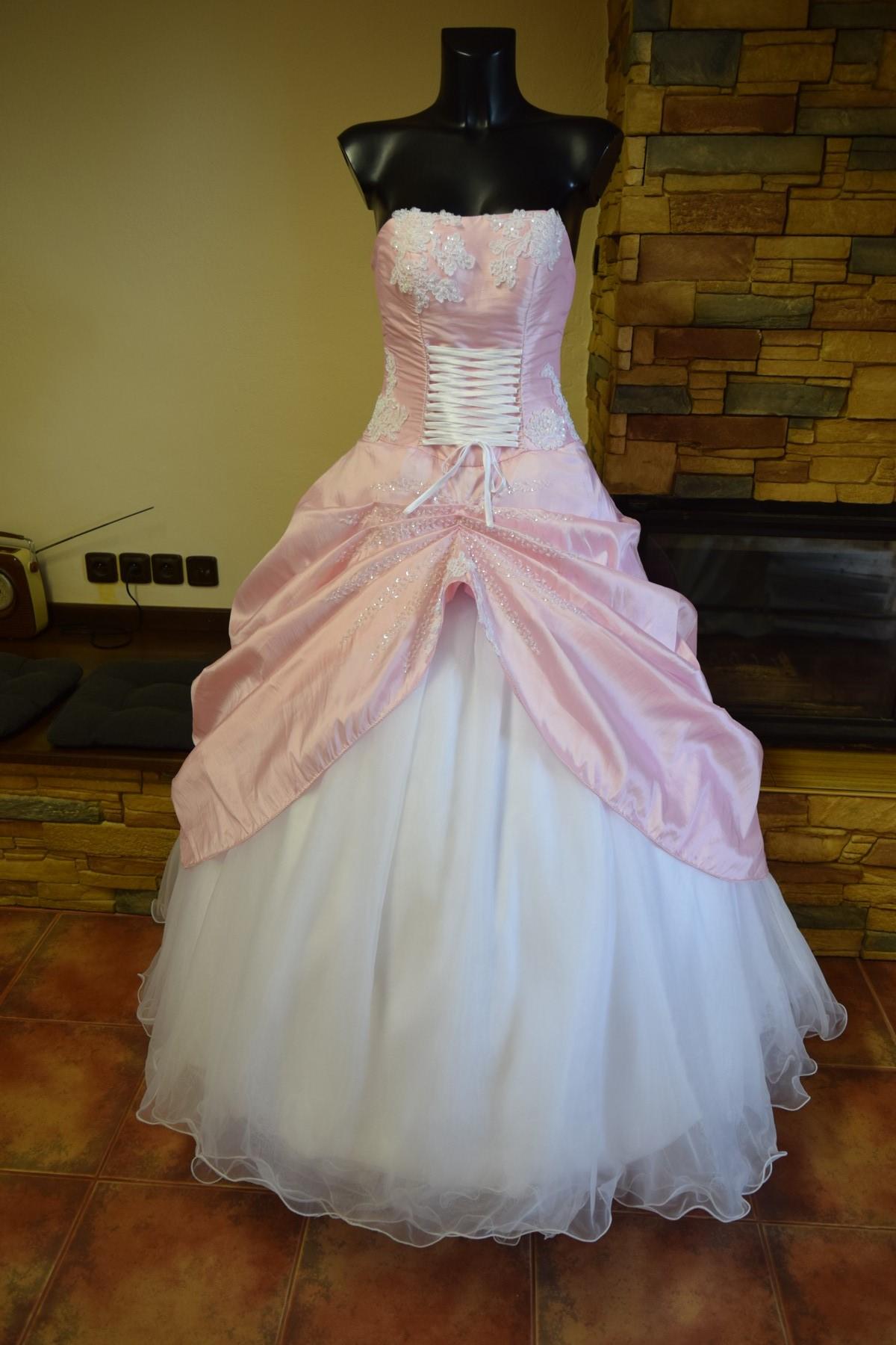 svatební šaty bílé s růžovou 1a786c2dbb